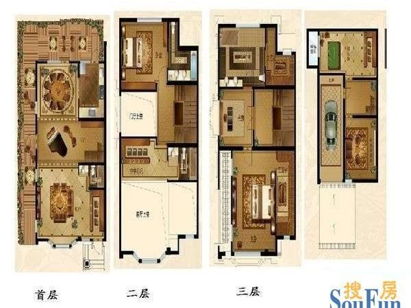 3层小别墅 两层双户型农村小别墅 两层独栋小别墅设计图