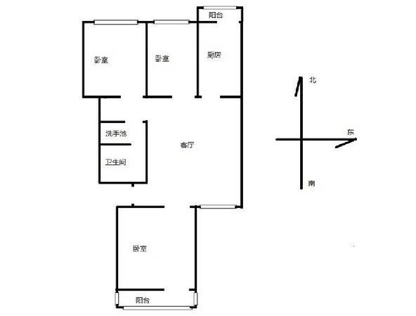 青塔秀元六号楼三居室户型图
