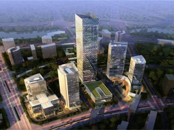 绿地中心对望中国尊中央公园广场带有阿玛尼公寓