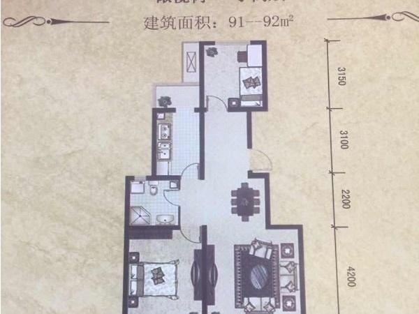 泰富橄榄树,电梯洋房,92平米两居,可落户 6666