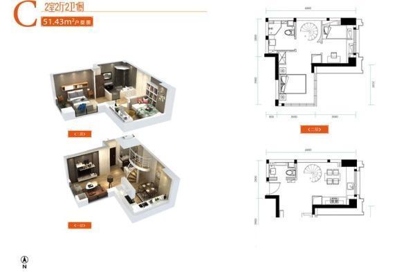 后湖大道51精致LOFT  舒适两居。地铁三号线-室内图-7