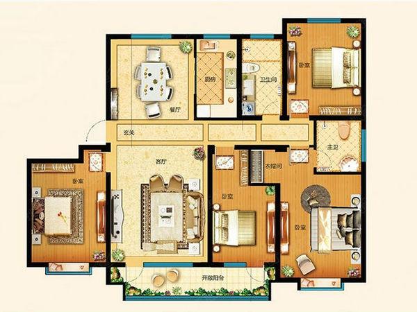 康大御金湾,花园电梯洋房,130平三室,160平四室户型方正